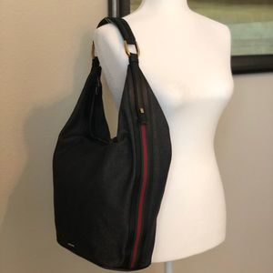 Dark Denim Side Stripe Leather Trim Hobo